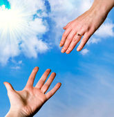 Two hands in front of the sky — Photo