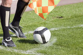 Referee in corner with ball — Stock Photo