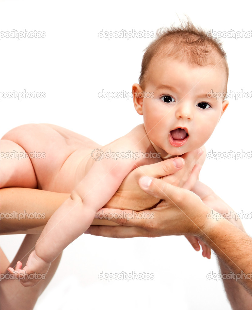 Baby being held by parents palm  — Stock Photo #8828632