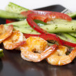 Green salad with shrimps - healthy eating concept - Stock Photo