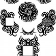 Stock Vector: Tribal black tattoos set 2