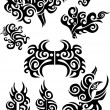 Stock Vector: Tribal black tattoos set 1