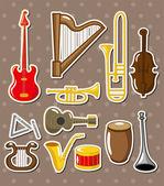 Cartoon musical instruments stickers — Stock Vector
