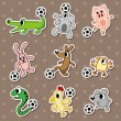 图库矢量图片: Animal football stickers/soccer ball stickers