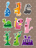 Doodle monster stickers — Stock Vector