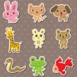 Stock Vector: Animal stickers