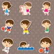 Kid sport stickers — Stock Vector
