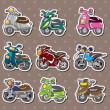 Stock Vector: Cartoon motorcycle stickers