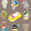 图库矢量图片: Summer animal stickers