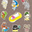 Summer animal stickers — 图库矢量图片