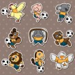 Cartoon animal soccer player stickers — Stock Vector #10350911