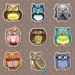 Cartoon owl stickers — Stock Vector #10350917
