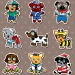 Royalty-Free Stock Vector Image: Cartoon dog stickers