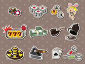 Cartoon casino stickers — ストックベクタ