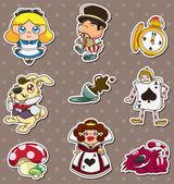 Cartoon Alice in Wonderland stickers — Stock Vector