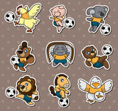 Cartoon animal soccer player stickers — Stock Vector