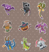 Halloween monster stickers — Stock Vector