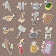 Stock Vector: Kitchen tool stickers