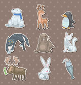 Winter animal stickers — ストックベクタ