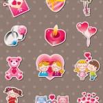 Cartoon Valentine's Day stickers — Stock Vector
