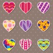 Heart love stickers — Stock Vector