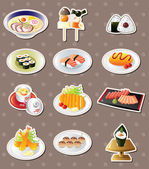 Cartoon Japanese food stickers — Stock Vector