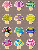 Mushroom stickers — Stock Vector