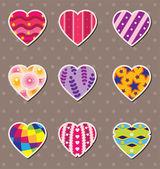Heart love stickers — Stock Vector