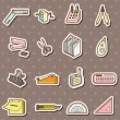 Doodle stationery stickers — Stock Vector
