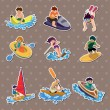 Water sport stickers — Stock Vector