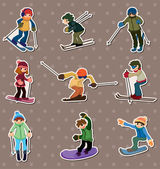 Ski player stickers — Stock Vector