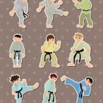 Cartoon Karate Player stickers — Stock Vector #10545919