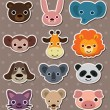 Animal face stickers — Stock Vector