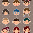 Stock Vector: Kid face stickers