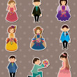 Wedding ceremony - bride and groom stickers — Vector de stock