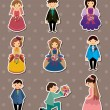 Wedding ceremony - bride and groom stickers — 图库矢量图片