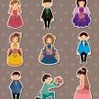 bröllop - bruden och brudgummen klistermärken — Stockvektor