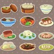 Cartoon Chinese food stickers - Stock Vector
