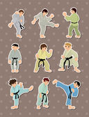 Cartoon Karate Player stickers — Stock Vector