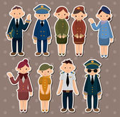 Cartoon flight attendant/pilot stickers — Stock Vector