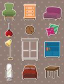 Cartoon furniture stickers — Stock Vector