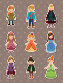 Cartoon Prince and Princess stickers — 图库矢量图片