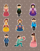 Wedding ceremony - bride and groom stickers — Stock Vector