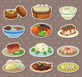 Cartoon Chinese food stickers — Stock Vector