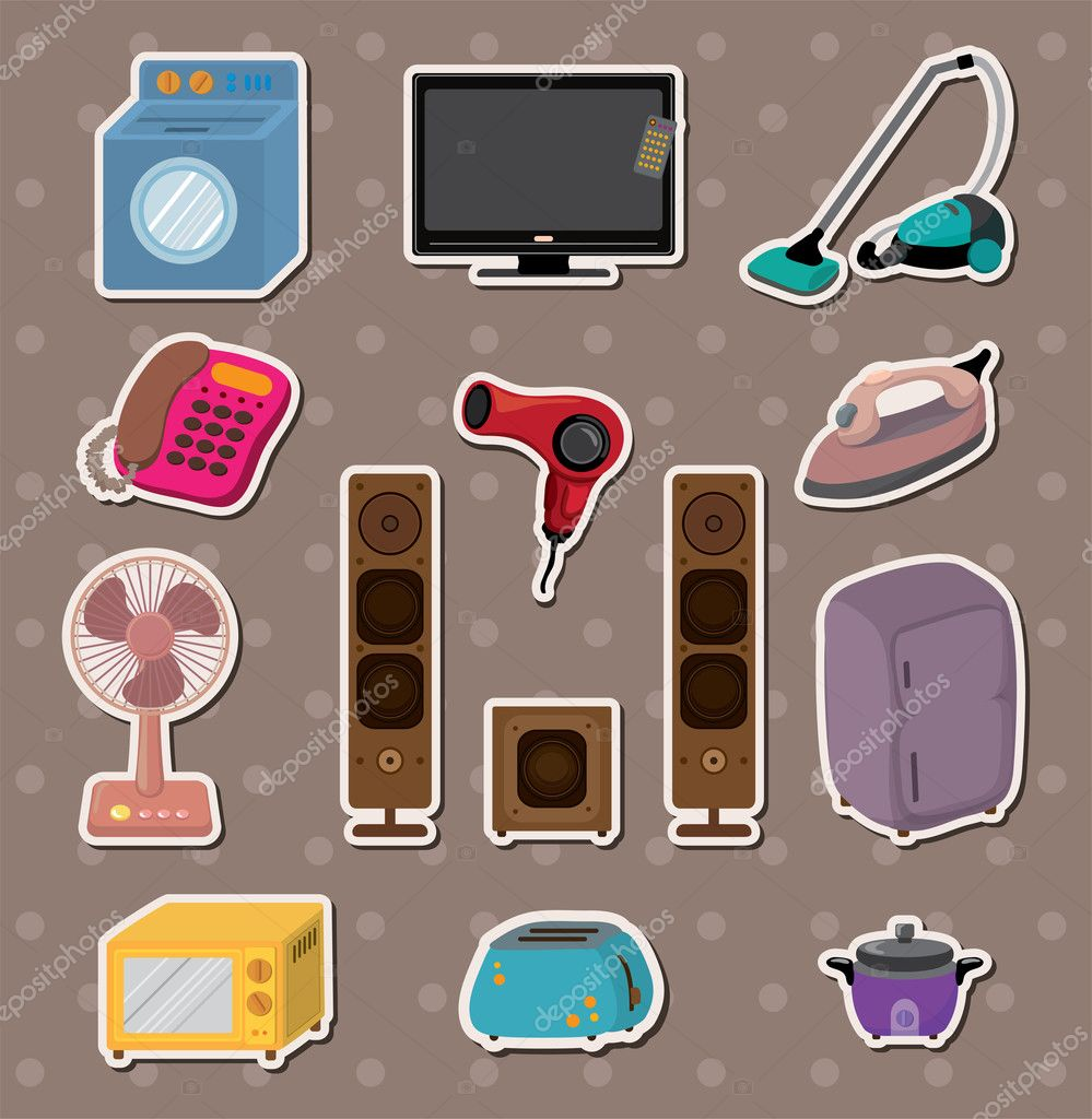 Dibujos animados de pegatinas de electrodom sticos para el for Cosas de hogar