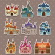 Cartoon Fairy tale castle stickers — Vector de stock