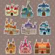 Cartoon Fairy tale castle stickers — Stok Vektör #10608842