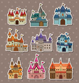Cartoon Fairy tale castle stickers — Stock Vector