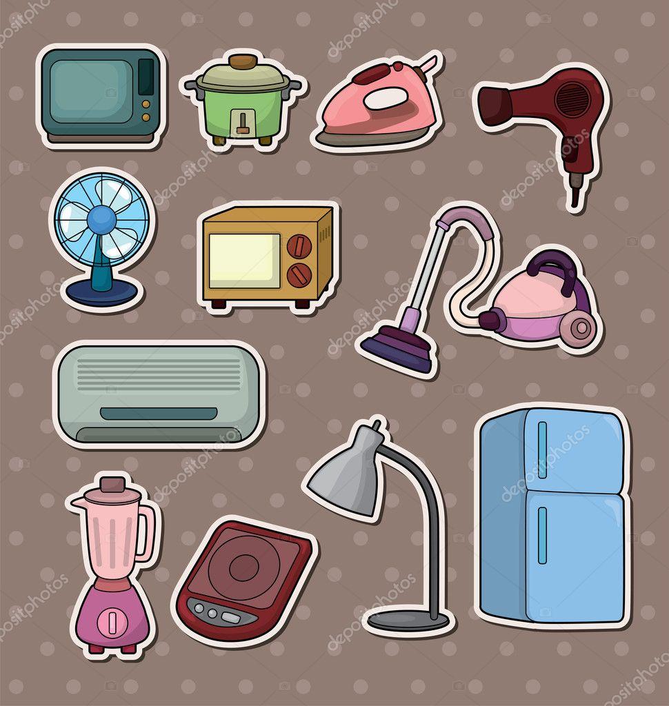 Dibujos animados de pegatinas de electrodom sticos para el for Dibujos para cocina