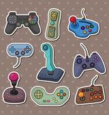 Karikatura hry joysticku samolepky — Stock vektor